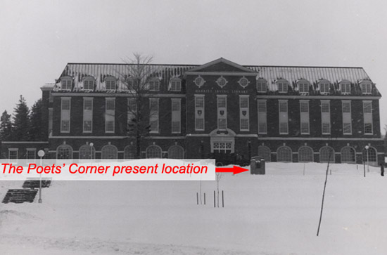Photo showing current location of the Poets' Corner Monument