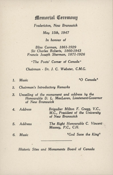 Programme - Unveiling Ceremony for Poet's Corner, 15 May 1947