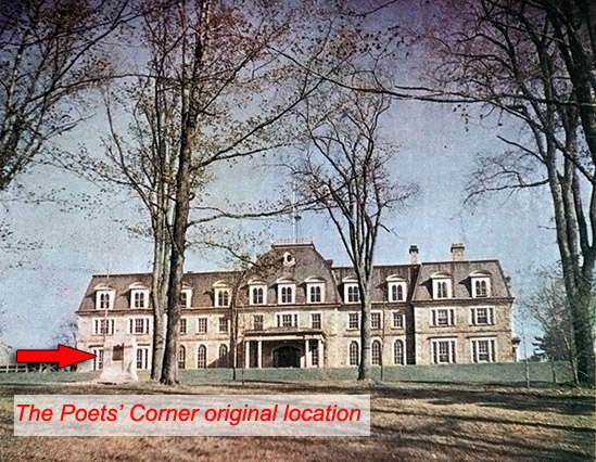 Photo showing original location of the Poets' Corner Monument - Yearbook 1950
