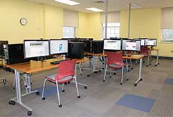 A view of the dual monitor workstations in the GIS Lab.