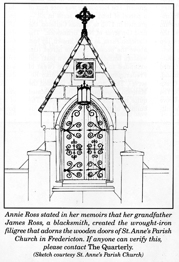 Sketch of wooden doors of St. Anne's Parish Church