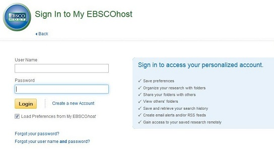 Screen capture of the sign in page my a my EBSCO account.