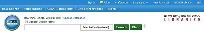 Screen capture of CINAHL toolbar; the sign in to My EBSCO is the first option at the top of the page.