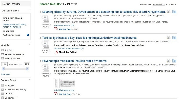 Screen capture of the CINAHL results for a search on Tardive Diskenesia and nursing