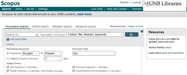 screen capture of the Scopus advanced search screen