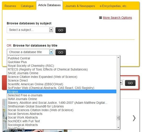 screen capture of the article databases tab on the main library web page