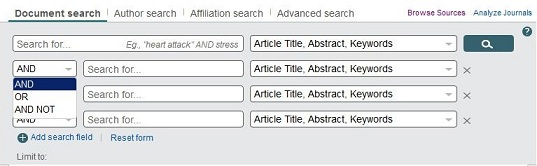 Screen capture of Scopus's advanced search page with an increased number of search boxes