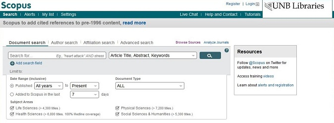 Screen capture of Scopus toolbar; the Register option is near the upper right-hand corner.