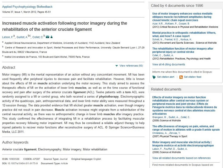 Screen capture of the detailed record for a single article in Scopus