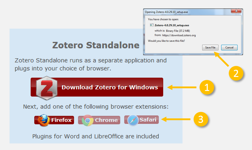 Following Steps 1-3 to download Zotero Standalone.