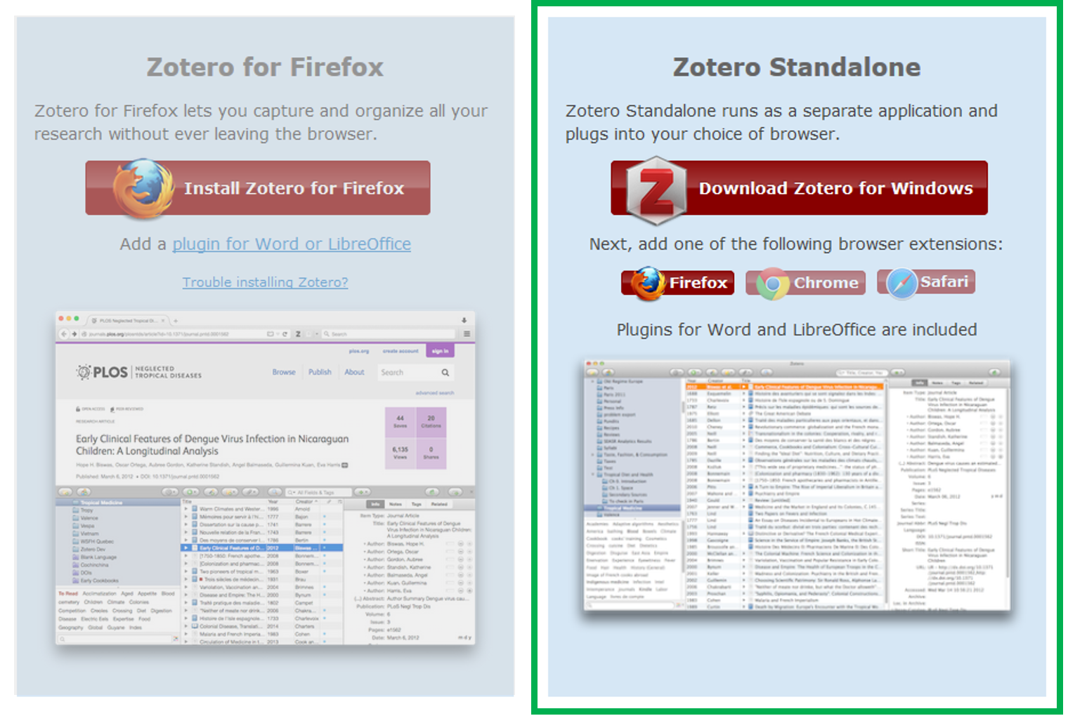 The Zotero download page, highlighting the Zotero Standalone option and blocking out the Zotero for Firefox option.